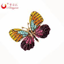 mzc luxury colorful butterfly brooches pins mujer strass