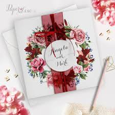 Invitation Card Application Marsala Red Wine Floral Rustic Folded Wedding Day Invitation With