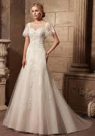vintage style modest lace wedding dress with butterfly sleeves