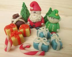 Christmas Cake Decorations Set by Marzipan Christmas Trees 8 Fondant Christmas Trees 3d