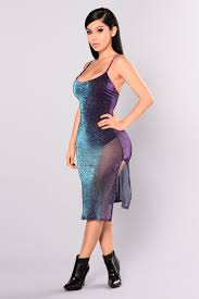 metallic dress purple multi