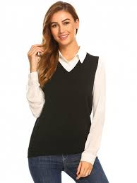 sweater vest womens black v neck sweater vest
