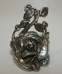 antique rose rings images Vintage sterling silver repousse rose elongated ring jpg