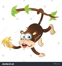 monkey hanging on tree upside down stock illustration 160512731