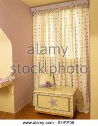 Yellow Patterned Curtains Patterned Curtains On Window Above Butler S Sink In Country