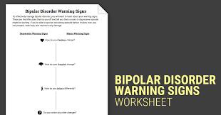 Depression Worksheets Bipolar Disorder Warning Signs Worksheet Therapist Aid
