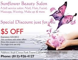 5 off coupon for your great tampa nail salon sunflower beauty