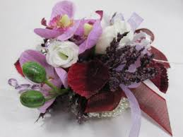 White Wrist Corsage Burgundy And Lavender Fuchisa Orchids On White Pearl Bracelet
