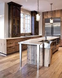 barnwood flooring kitchen contemporary with dark wood cabinets