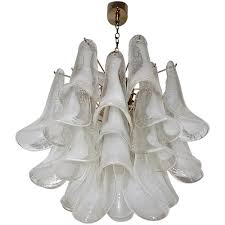 chandeliers nyc mazzega murano clear and white petal chandelier at 1stdibs