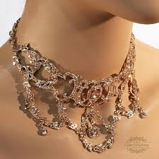 crystal choker necklace set images Victorian inspired rose gold crystal bridal choker earrings jpg