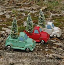 miniature truck with light up tree homes