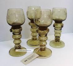 Wine Goblets Vintage Cogwheel Green Glass Antique German Green Etched Roemer