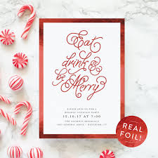 holiday party invitation eat drink and be merry theme party