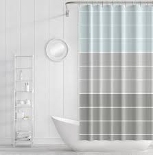 Shower Curtain Striped Shower Curtain Striped Bath Curtain Grey Light Blue