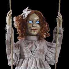 gothic horror prop haunted baby doll halloween decoration speaks