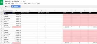 tech trends google sheets u2014a free and powerful training log option