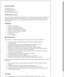 Resume Sample For Secretary by Professional Claims Assistant Templates To Showcase Your Talent