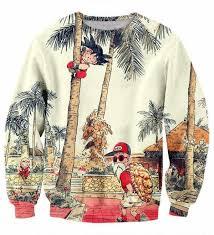 palm tree kid goku master roshi vintage beige sweater