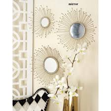 4 piece modern suspended metal wall mirror set 47951 the home depot burst style framed round wall mirrors set of 3