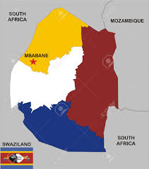 South Africa Political Map by Political Map Of Swaziland Country With Flag And Regions Stock