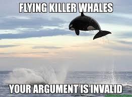 Your Argument Is Invalid Meme - flying killer whales your argument is invalid custom meme