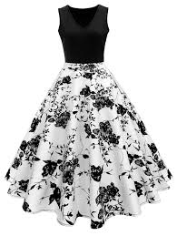 dress pic vintage print a line high waisted dress in white and black l
