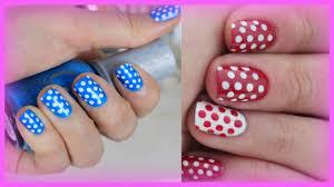 summer nail art tutorial for beginners polka dot nails youtube