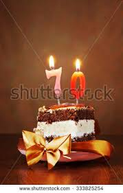 birthday cake burning candles number seventy stock photo 577973023