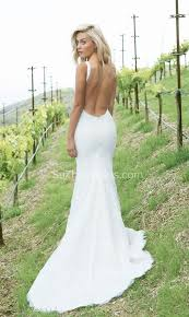 Simple Wedding Dresses White Lace Summer Wedding Dresses 2017 Mermaid Open Back