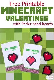 minecraft valentines cards minecraft valentines with perler bead hearts print make at home