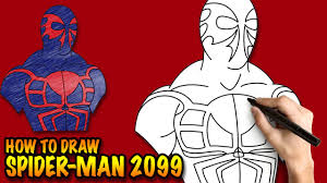 draw spider man 2099 easy step step drawing tutorial