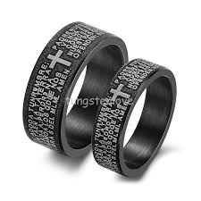 mens wedding bands cheap mens womens black stainless steel bible cross wedding rings