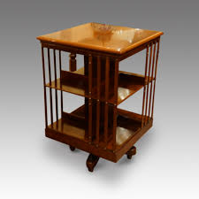 decorating brown wooden revolving bookcase for antique home