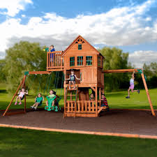 Playsets Outdoor Skyfort Ii Wooden Swing Set Playsets Backyard Discovery