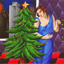 tamara de lempicka style christmas tree painting by e gibbons