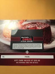 ruth s chris gift cards 50 ruth s chris steak house gift card ebay