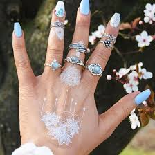 art silver rings images Jewels cherry diva ring knuckle ring boho bohemian white jpg