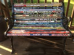 hockey stick bench made from my kid u0027s hockey sticks and an old
