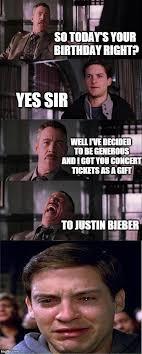 Justin Bieber Birthday Meme - peter parker cry meme imgflip