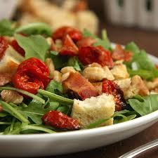 bacon arugula roasted tomato salad on sugar mountain