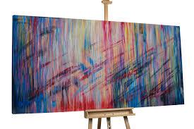 Wohnzimmerm El Set Modernes Abstraktes Xxl Gemälde Sehr Bunt Kunstloft