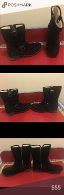 ugg australia leather buckle mid ugg chaney black suede mid calf moto boots sz 11 moto boots black