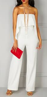 all white jumpsuits high waist ruffle overlay strapless all white jumpsuit