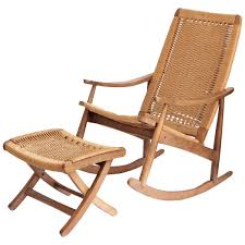 Rocking Chair With Ottoman Woven Mid Century Modern Rocking Chair And Ottoman At 1stdibs