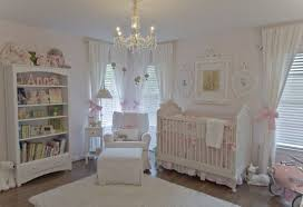 White Rocking Chair For Nursery Shabby Chic Baby Nursery With Laminate Flooring And Chandelier And