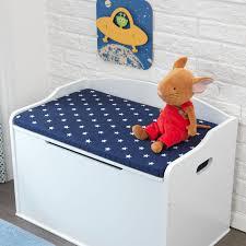 austin toy box cushion in white navy stars kidkraft storage