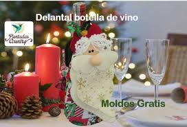 adorno navideño delantal botella de vino moldes gratis navidad