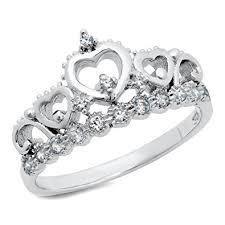 heart ring 925 sterling silver cubic zirconia princess heart