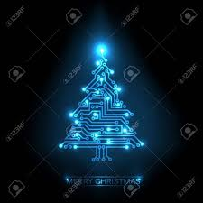 tree from digital electronic blue circuit and lights